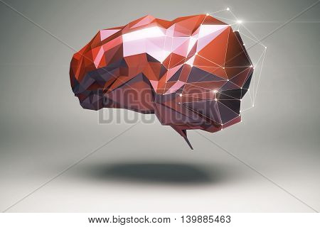 Brainstorming and creative thinking concept with abstract floating red polygonal brain and shadow on grey background. 3D Rendering
