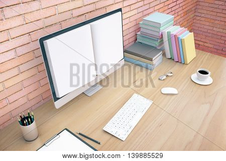 Creative wooden office desktop with book screened computer keyboard coffee cup glasses and stationery items on red brick wall background. Online education concept. Mock up 3D Rendering