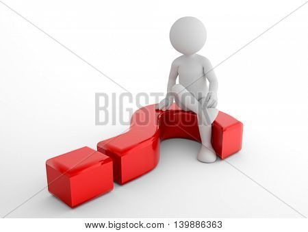 Toon man sitting on 3d question mark. FAQ, ask, search concepts. 3D illustration