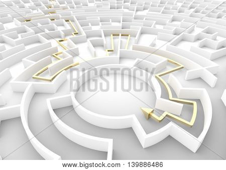 Gold arrow going through maze showing a solution. Concepts of problem solving, challenge, business strategy etc. 3D illustration
