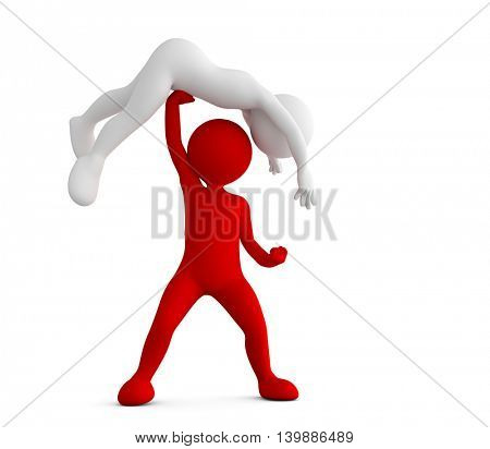 Red toon man beating his competitor. Conceptual 3d illustration