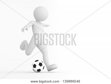 Toon man soccer player shooting on goal. Football concept. White background. 3D illustration