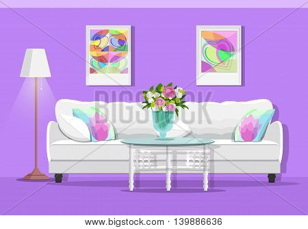 Cute graphic living room interior with furniture: sofa, table, lamp and pictures. Colorful home set. Flat style vector illustration.