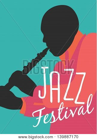 Retro Jazz festival Poster, illustration of band and cool singer who is striking a stylish pose and playing a musical performance