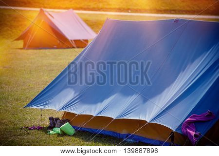 Large Tents on a Camping. Vacation Campground Tenting.