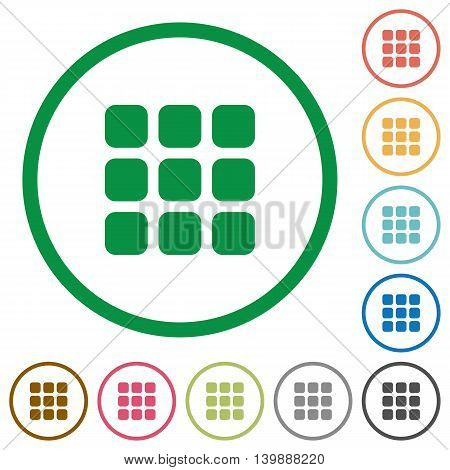 Set of Small thumbnail view color round outlined flat icons on white background
