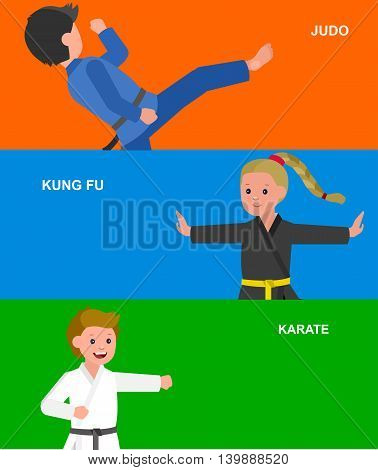 Cute vector character child. Illustration for martial art karate, judo, kung fu. Kid wearing kimono and training