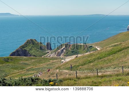 The UK's Jurassic coast with Durdle Door in the distance.