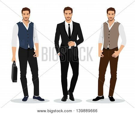 Stylish high detailed graphic businessmen set. Cartoon male characters. Men in fashion clothes. Flat style vector illustration.