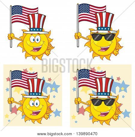 Sun Cartoon Mascot with Flag. Character. Set Collection Isolated On White Background