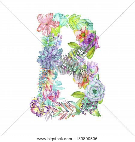 Capital letter B of watercolor flowers, isolated hand drawn on a white background, wedding design, english alphabet for the festive and wedding decor and cards