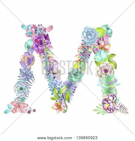 Capital letter M of watercolor flowers, isolated hand drawn on a white background, wedding design, english alphabet for the festive and wedding decor and cards