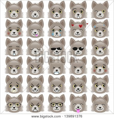 Set of funny pup emoticons - smiling grey pups with different emotions from happiness to angry isolated on white background. Can be used for logos icons signs avatars web decor or other design