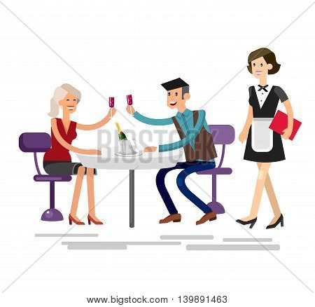 Vector detailed character people in the restaurant, service for public and personnel, couple celebrating in restaurant