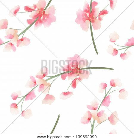 Seamless pattern with the isolated watercolor pink and red Delphinium (Larkspur) flower, hand drawn on a white background