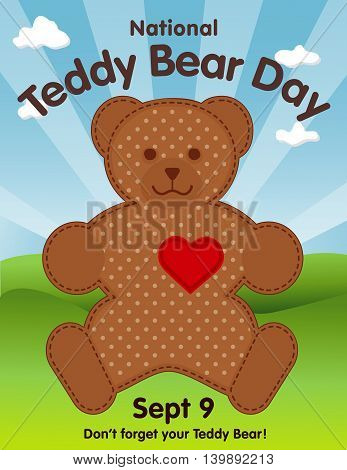 Teddy Bear Day, national holiday in USA on September 9, favorite toy with heart full of love, grass lawn, blue sky background.