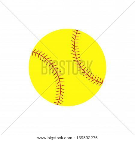 Flat icon softball ball. Sport item. Vector illustration.