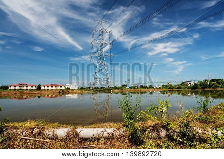 Power Tower or giant electric pole with blue sky