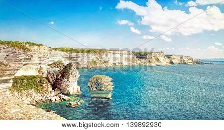 Sand grain limestone in Bonifacio - PicturesqueCapital of Corsica France