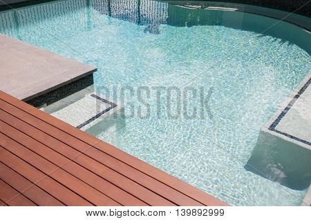 Wooden Floor Of A Modern Swimming Pool Waterside