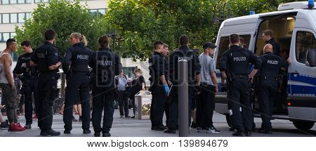 Frankfurt am Main, Germany - July 25, 2016: Police control in Frankfurt am Main railway station.