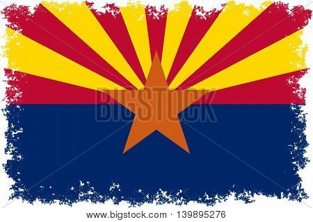 State flag of Arizona Authentic colors with worn distressed edges