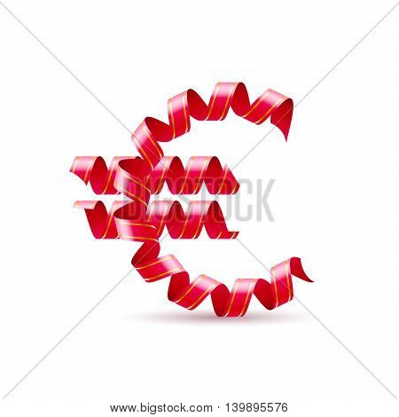Symbol of euro is made of red curly ribbons.