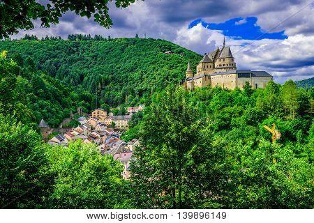 Vianden castle and the city of Vianden in Luxembourg