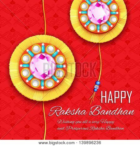 illustration of decorative Rakhi for Raksha Bandhan, Indian festival for brother and sister bonding celebration poster