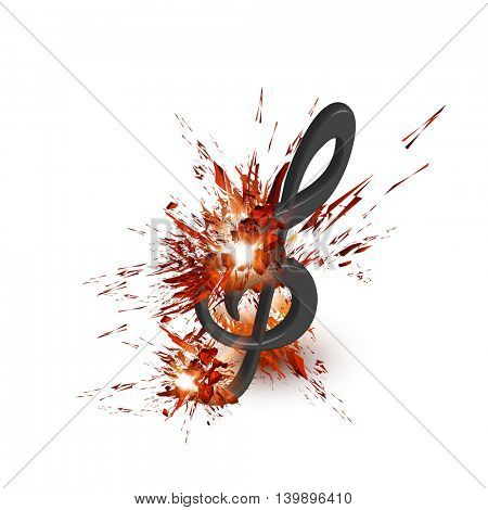 g-clef explosion light music note  easy editable