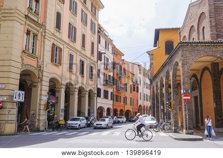 Bologna, Italy - June, 18, 2016: the street in a center of Bologna, Italy