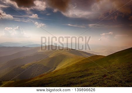 Polonina Borzava landscape (Carpathians mountains, Ukraine 2016)