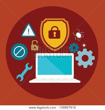 anti virus security computer locked shield flat illustration vector