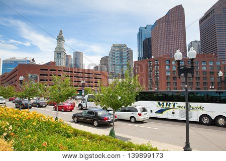 BOSTON,MASSACHUSETTS,USA - JULY 2,2016: The North End Parks on the Rose Kennedy Greenway have reconnected Boston. Green space has been created in an area that was formerly an eyesore.
