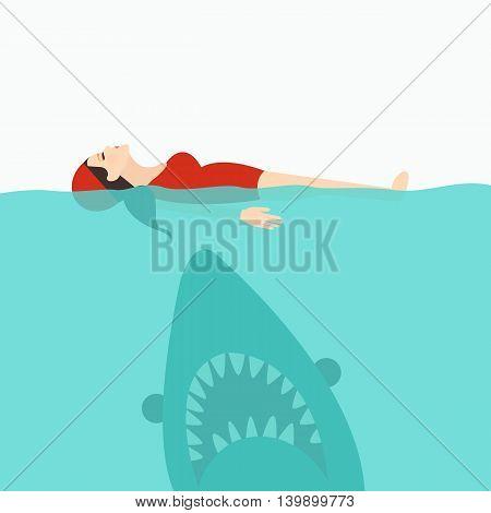 shark jaws attack woman swimming at sea water vector poster