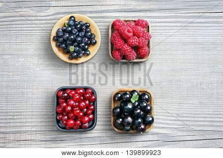 Set of berries: bilberry raspberry cranberry and currant. Top view high resolution product. Harvest Concept