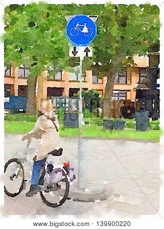 Digital watercolor painting of a lady on a bicycle riding on a bike path with a Dutch road sign route for pedal cycles only with two way traffic.