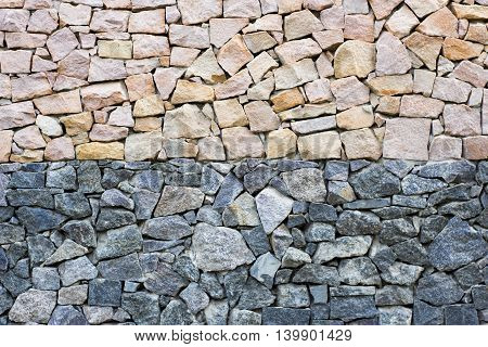 Wall Of Yellow And Blue Granite