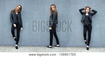 Composite Image Of Happy Young Beautiful Woman In Black Leather Jacket Black Jeans Slip-on Posing Fo
