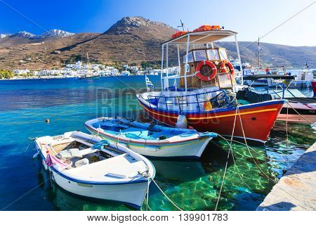 traditional fishing boats in Katapola port, Amorgos island, Greece