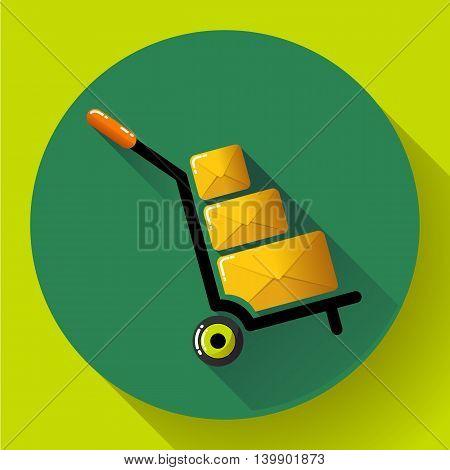 Warehouse Trolley flat 2.0 long shadow vector icon