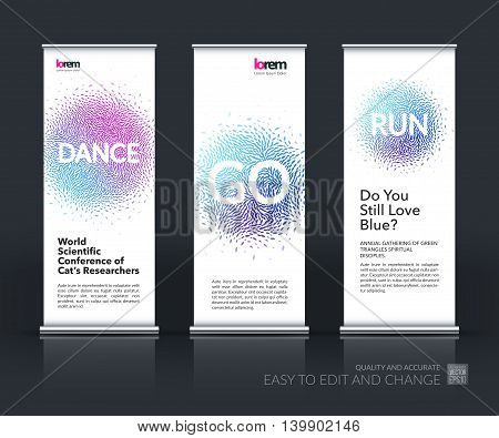 Vector set of modern roll up banner vertical stand design with dance and run beautiful design element for template with moving particles, explosion effect for sport, fitness, party.