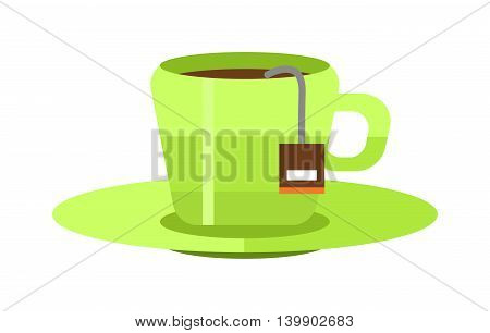 Green tea cup vector illustration. Hot cup with green tea and green leaves. Green tea healthy drink. Fresh green tea fresh hot drink. Isolated tea cup