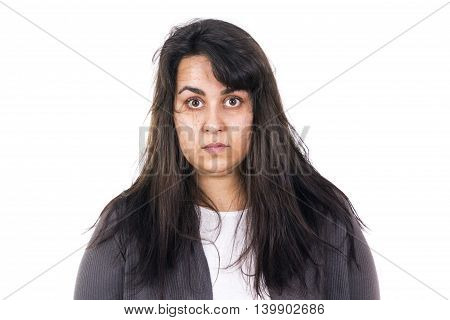 woman messy hair just woke up early isolated on white background
