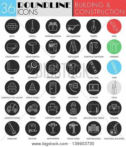 Vector building and construction circle white black icon set. Modern line black icon design for web