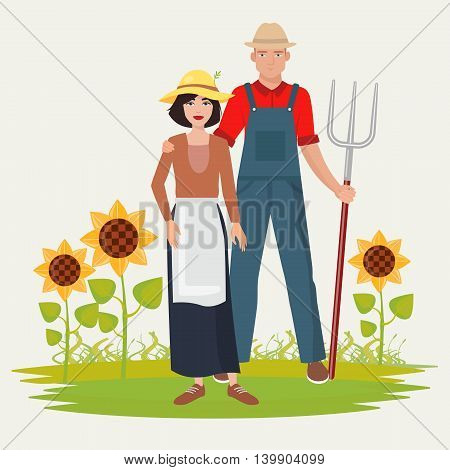 Farmers couple man and woman. Male and female gardener