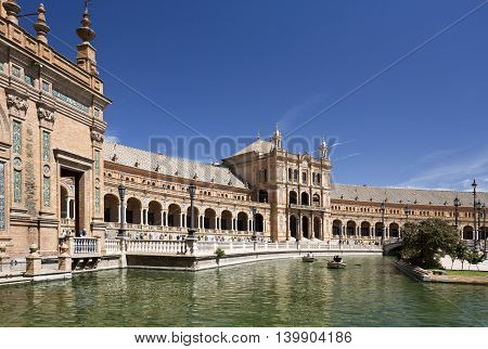 SEVILLE, SPAIN - September 13, 2015: Partial view of the beautiful Plaza de Espana (Spain Square) on September 13, 2015 in Seville, Spain