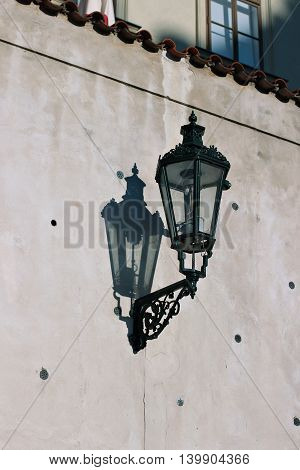 Old streetlight lantern on the Prague street