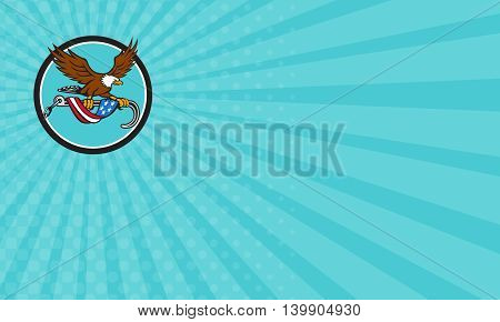 Business card showing illustration of an american bald eagle clutching with its talon a towing j hook with chains draped with usa american flag set inside circle done in retro style style.