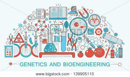 Modern Flat thin Line design biology, genetics and bioengineering technology science concept for web banner website, presentation, flyer and poster